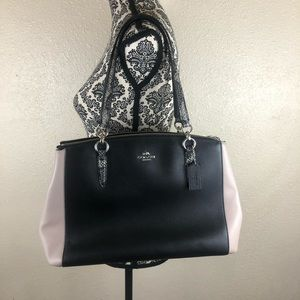 Authentic coach purse with snakeskin straps